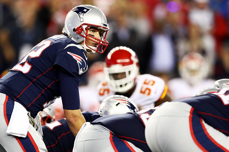 BOSTON, MA - SEPTEMBER 7: Tom Brady of the New England Patriots calls a play during the game against the Kansas City Chiefs at Gillette Stadium on September 7, 2017 in Foxboro, Massachusetts. (Photo by Maddie Meyer/Getty Images)